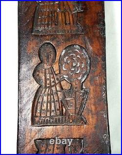 1870 Antique Rare Dutch Hand Carved Springerle Five Cookie Mold
