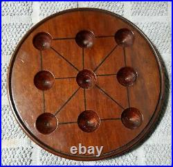 5 & 3/16 Rare Small Antique Carved Wooden Solitaire Board Game Display Marbles