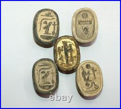 5 RARE ANCIENT EGYPTIAN PHARAONIC ANTIQUE SCARAB Carved Stone 1798-1569 BC (4)