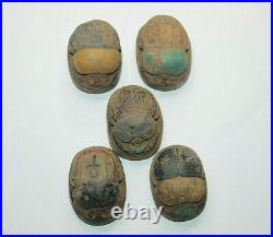 5 RARE ANCIENT EGYPTIAN PHARAONIC KINGDOM ANTIQUE SCARAB Carved Stone