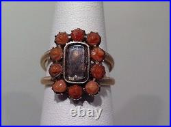 A RARE GEORGIAN MOURNING PIECE RING IN A CARVED CORAL RING 14k Y/GOLD SIZE 6.5