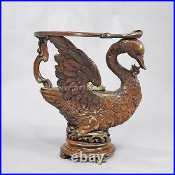 A rare antique carved wood dressing chair with swan ca. 1880