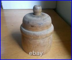 ANTIQUE 1890s RARE ORIGINAL WOOD BUTTER MOLD WITH HAND CARVED SHEEP 5TALL