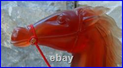 ANTIQUE 19C OLD CHINESE AMBER CARVED RARE LARGE WARRIOR WithHORSE STATUE ON STAND