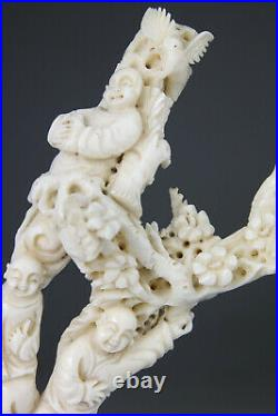 ANTIQUE RARE CHINESE CORAL STATUE FIGURE BOYS CARVED STAND no red Qing 19TH