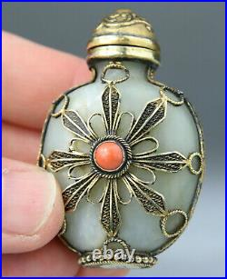 ANTIQUE RARE CHINESE JADE CARVED SNUFF BOTTLE CORAL TOP SILVER GILT Qing 19TH