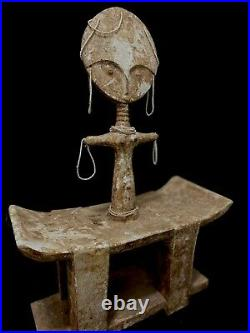 ASHANTI Ancient and rare CARVED WOOD fertility STOOL GHANA AFRICAN TRIBA (2137)