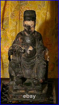 Antique 17c Chinese Wood Hand Carved Temple Ancestor Large Statue, Rare