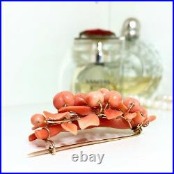 Antique 1850s Rare Victorian 14k Gold Peach Coral Brooch Pin Vintage Cameo Carve