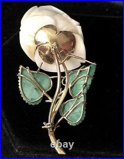 Antique 18k Gold Hand Carved Coral & Malachite Rose Flower Brooch/Pin Rare 32.1g