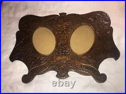 Antique 1916 French wood carving floral picture frame Double RARE