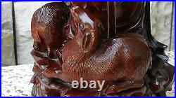 Antique 19c Chinese Rosewood Hand Carved Rare Statue Of Immortal With Dragon