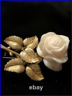 Antique C. 1920 18k Yellow Gold Carved Rose Angelskin Coral Brooch/Pin Large Rare