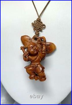 Antique Carved Wood Chinese Necklace Flower Pendant Rare Hidden Image