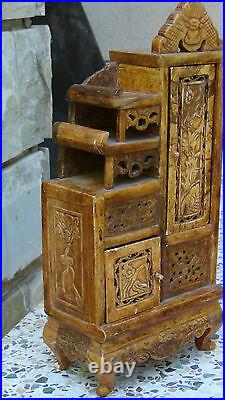 Antique Chinese Hard Stone Carved Miniature Snuff Bottle Cabinet, Chest, Rare