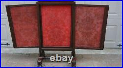 Antique Chinese Mahogany Carved Silk 3 Slider Removable Panels Fire Screen, Rare