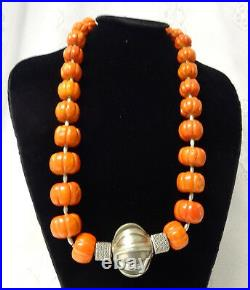 Antique Chinese Pure Natural Carved Coral Huge Beads Silver Heavy Necklace RARE