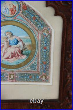 Antique Church Religious watercolour painting wood carved angel frame rare