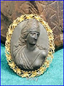 Antique Early Victorian Carved Lava Cameo & Rolled Gold Filigree Frame Rare 1850