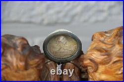 Antique French Wood carved angels putti relic holder reliquary Rare