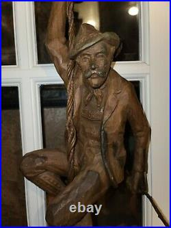 Antique Hand Carved Rare Figural Pendant Lamp Of A Chimney Sweep With Lantern