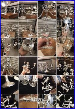 Antique Pair Of Solid Silver Islamic Rare Candlestick Candelabra Very Heavy