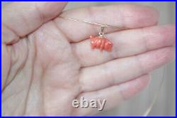 Antique Rare 14k Italy Exquisite Carved Piggy Pig Undyed Red Coral Pendent