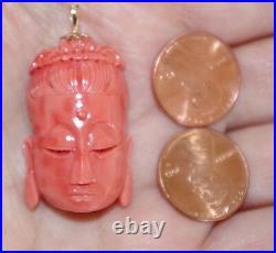 Antique Rare 14k Japan Exquisite Carved Red Blood Momo Kwan Yin Coral Pendent Bb