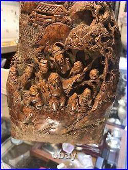 Antique Rare Chinese Carved Of Many Figures On Hard Stone Soapstone In 3D Style