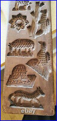 Antique Rare Dutch Hand Carved Speculaas 17 Cookie Mold Animals/Birds/Pipe