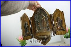 Antique Rare MEtal wood carved holy water font putti head tryptich wall plaque
