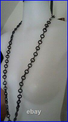 Antique Victorian Rare Beautidful Vulcanite Carved Cross Chain Mourning Necklace