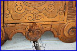 Antique apothecary Wood carved satyr devil gothic head wall cabinet rare