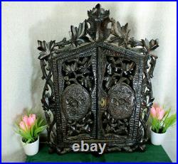 Antique german black forest wood carved apothecary wall cabinet rare 1900s