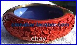 Beginning of 20 Century, Carved Cinnabar Laquer Ashtry Red TOP & RARE