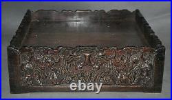 Collect rare old chinese huanghuali wood hand-carved pattern statue storage box