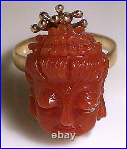 Estate Rare Antique Hand Carved Red Coral 18k Solid Yellow Gold Cameo Ring