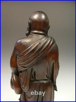 Exquisite Qing Dynasty Chinese Antique Wood Carving of Happy Buddha Hotei Rare