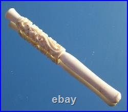 Fine Quality Rare Edwardian Chinese Dragon Carved Ladies Cigarette Hold