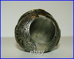 Huge, Rare, Antique Middle Eastern Or Persian Ring / Carved Pegasus In Turquoise