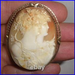 Large Exquisite Rare Antique 14k gold double face woman carved cameo brooch