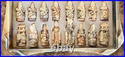 Marble Carved Dragon Fantasy Vintage Japanese Complete Chess Unique Set Rare
