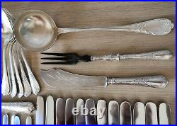 RARE 1935 Christofle Marly Silver Plated 64 piece cutlery set ladle fish carving