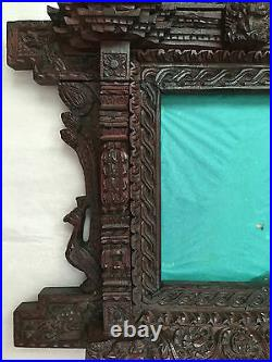 RARE 19th CENTURY CHINESE HAND CARVED DRAGON PHOTO FRAME WITH IMPORT SEAL