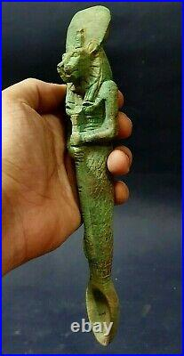RARE ANCIENT EGYPTIAN ANTIQUES Funeral Spoon Holded Sekhmet Carved Stone 300 BC