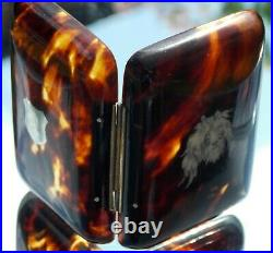 RARE ANTIQUE EARLY VICTORIAN faux TORTOISESHELL INLAID SILVER CARVED DOGS HEAD