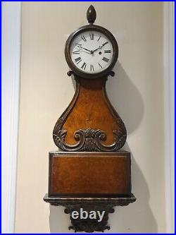 RARE Antique 1920's Early HERMAN MILLER Large Ornate Carved 39 Wall Clock USA