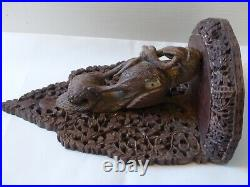 RARE Antique 19th Century Anglo Indian Carved Wall Bracket / Shelf Sandalwood