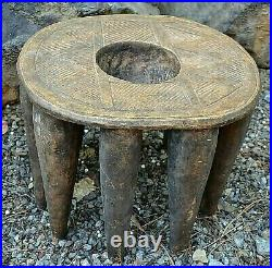 RARE Antique African Nupe Tribe Round Wooden Stool W Carved Bowl Nigeria, Africa