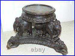 RARE Antique Anglo Indian Carved Wooden Jardinere / Plant Pot Stand Elephants